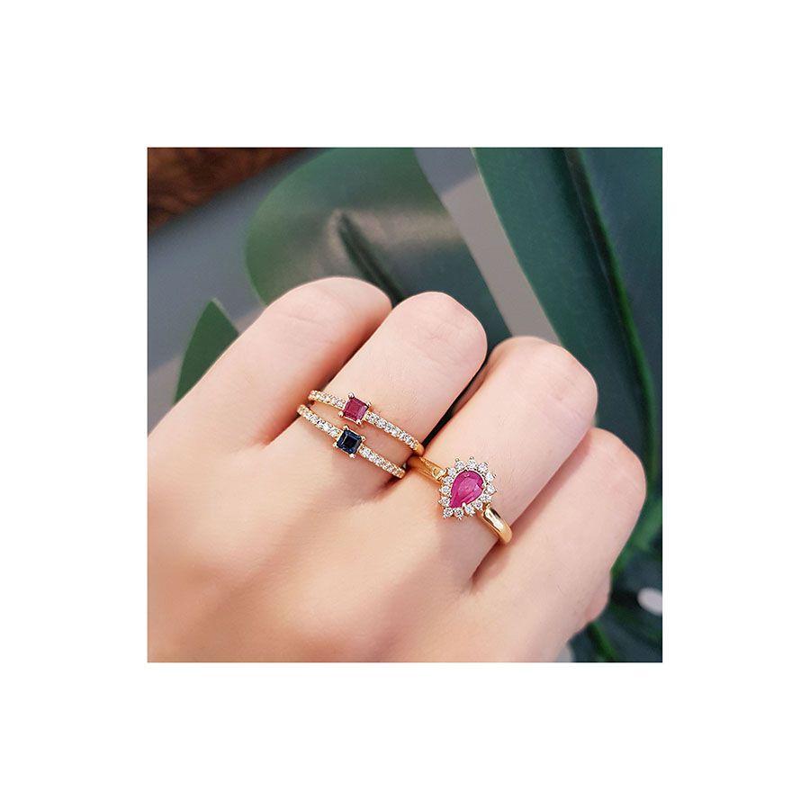 Anel Purity Ouro 18k com Quadrado Rubi e Diamantes  - YVES