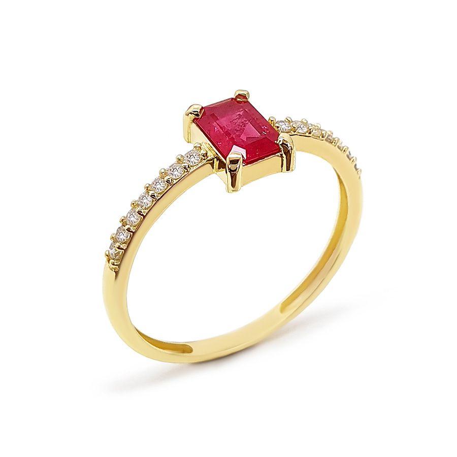 Anel Purity Ouro 18k com Rubi Retangular e Diamantes   - YVES