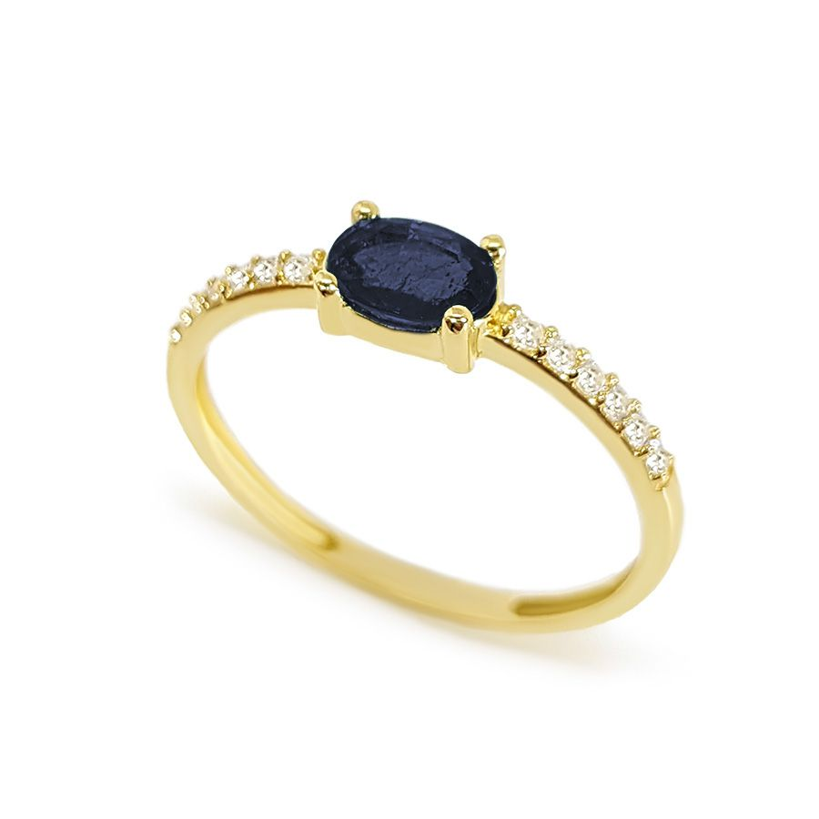 Anel Purity Ouro 18k com Safira Oval e Diamantes  - YVES