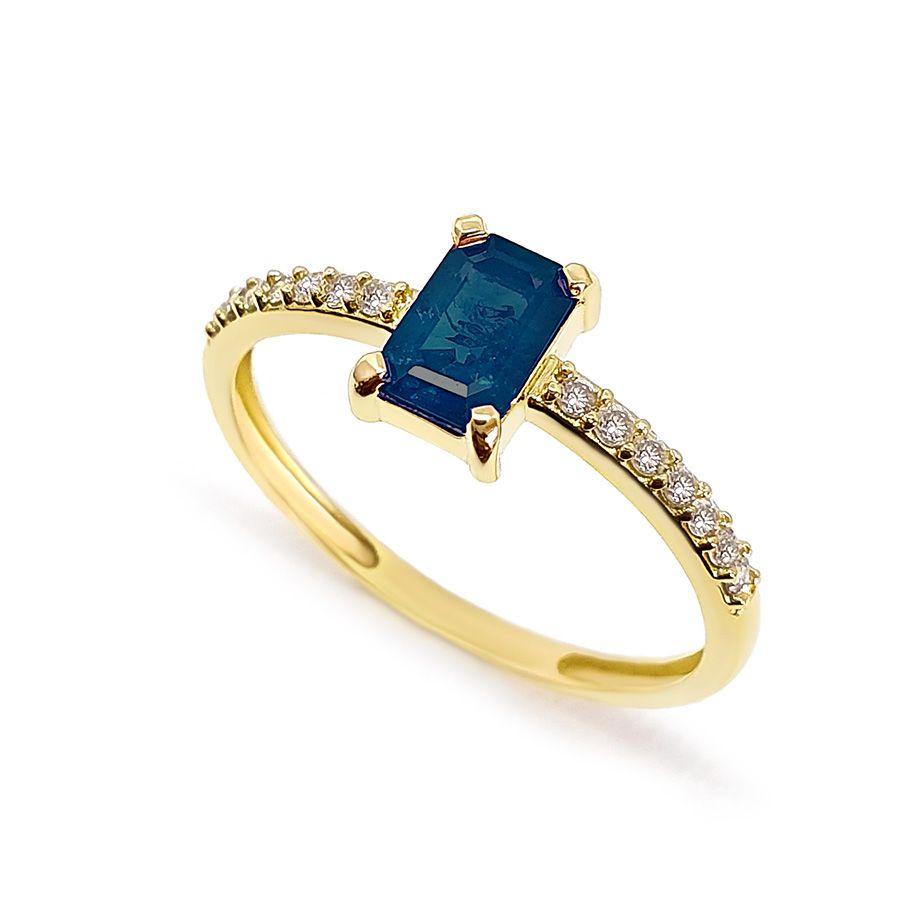 Anel Purity Ouro 18k com Safira Retangular e Diamantes
