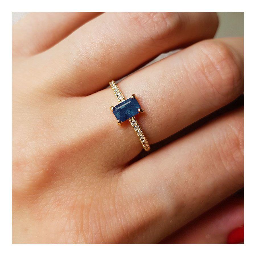 Anel Purity Ouro 18k com Safira Retangular e Diamantes   - YVES