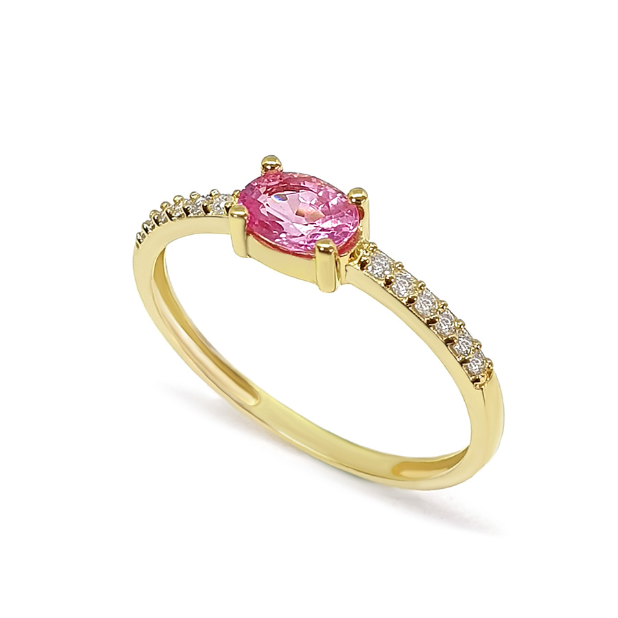 Anel Purity Ouro 18k com Safira Rosa Oval e Diamantes