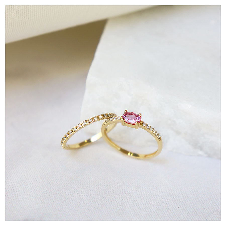 Anel Purity Ouro 18k com Safira Rosa Oval e Diamantes  - YVES