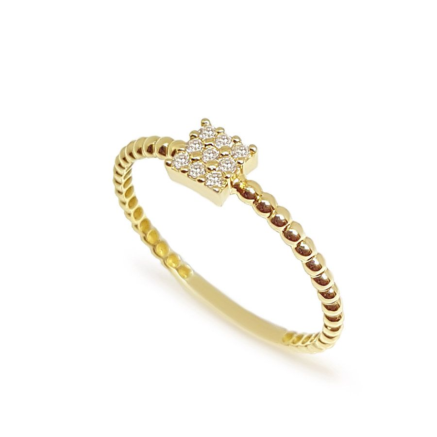 Anel Quadrado Ouro 18k com 9 Diamantes