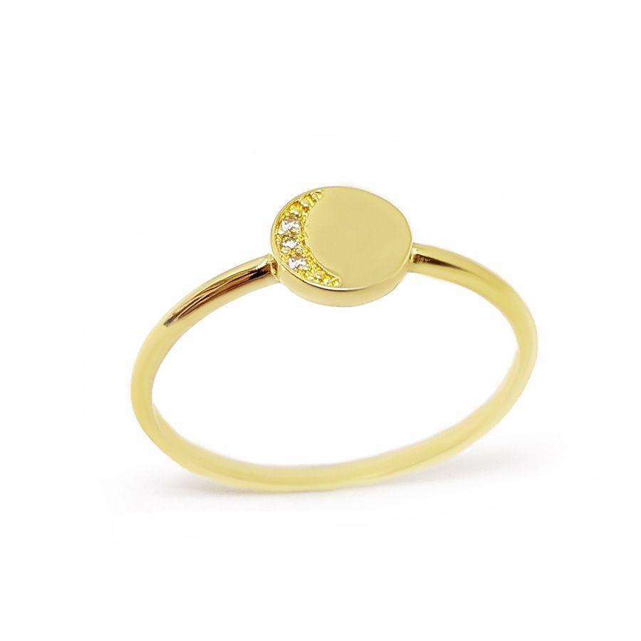Anel Redondo Ouro 18k com Diamantes   - YVES