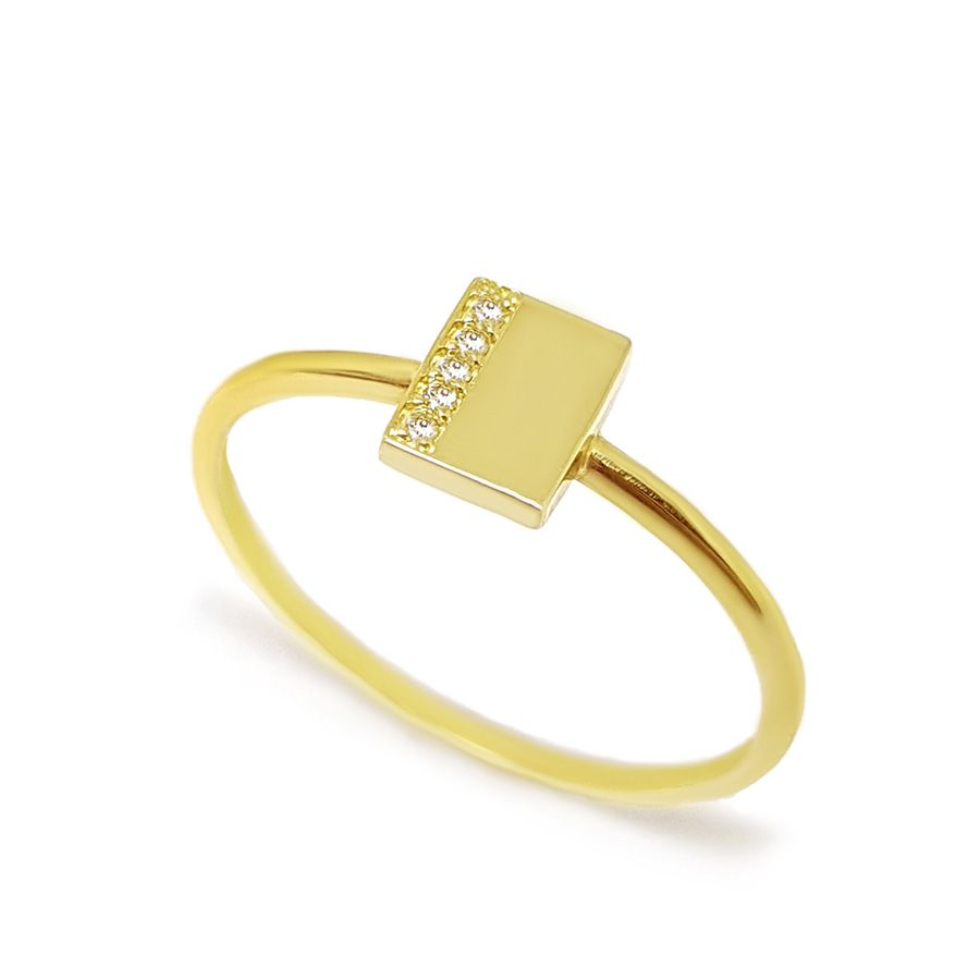 Anel Retangulo Ouro 18k com Diamantes