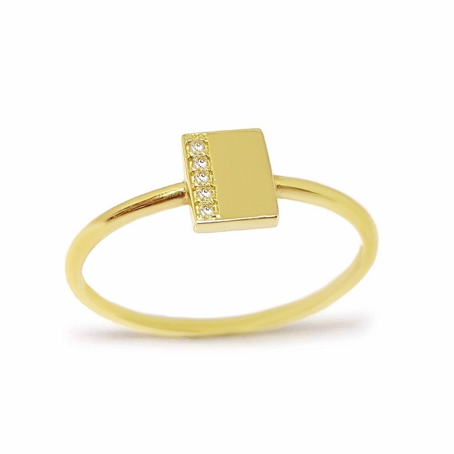 Anel Retangulo Ouro 18k com Diamantes   - YVES