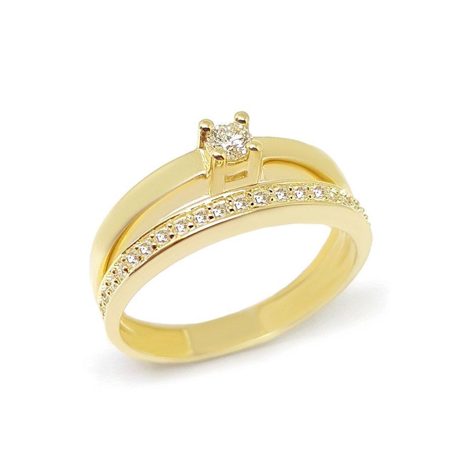 Anel Solitário 2 em 1 Ouro 18k com Diamantes