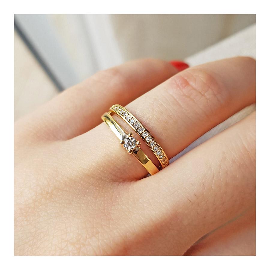 Anel Solitário 2 em 1 Ouro 18k com Diamantes   - YVES