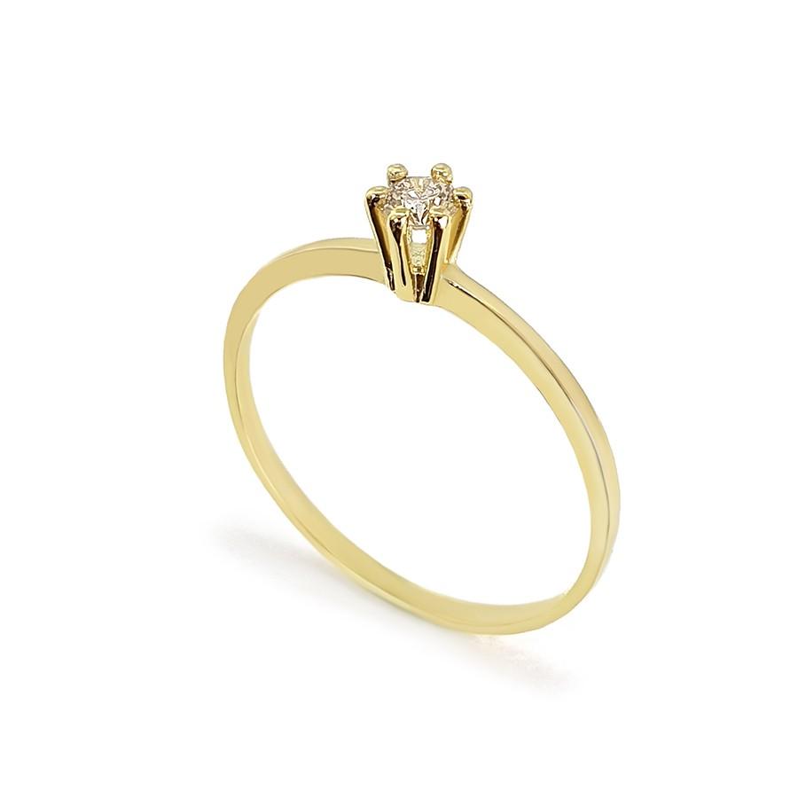 Anel Solitário Ouro 18k com Diamante de 10 pontos   - YVES