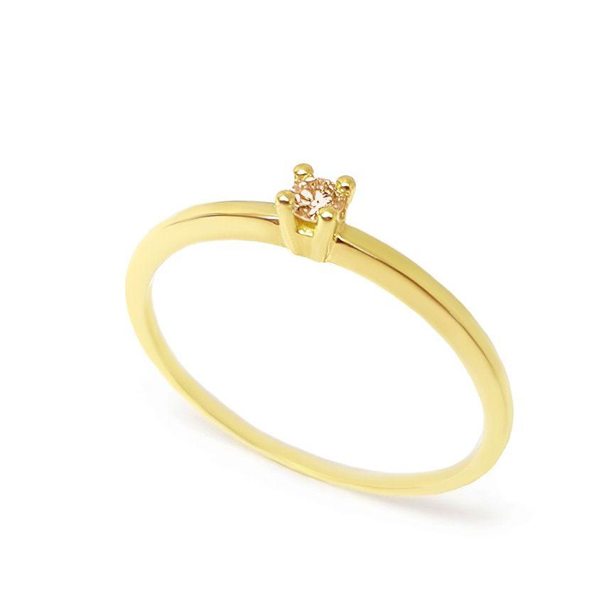Anel Solitário Ouro 18k com Diamante Chocolate de 10 pontos  - YVES