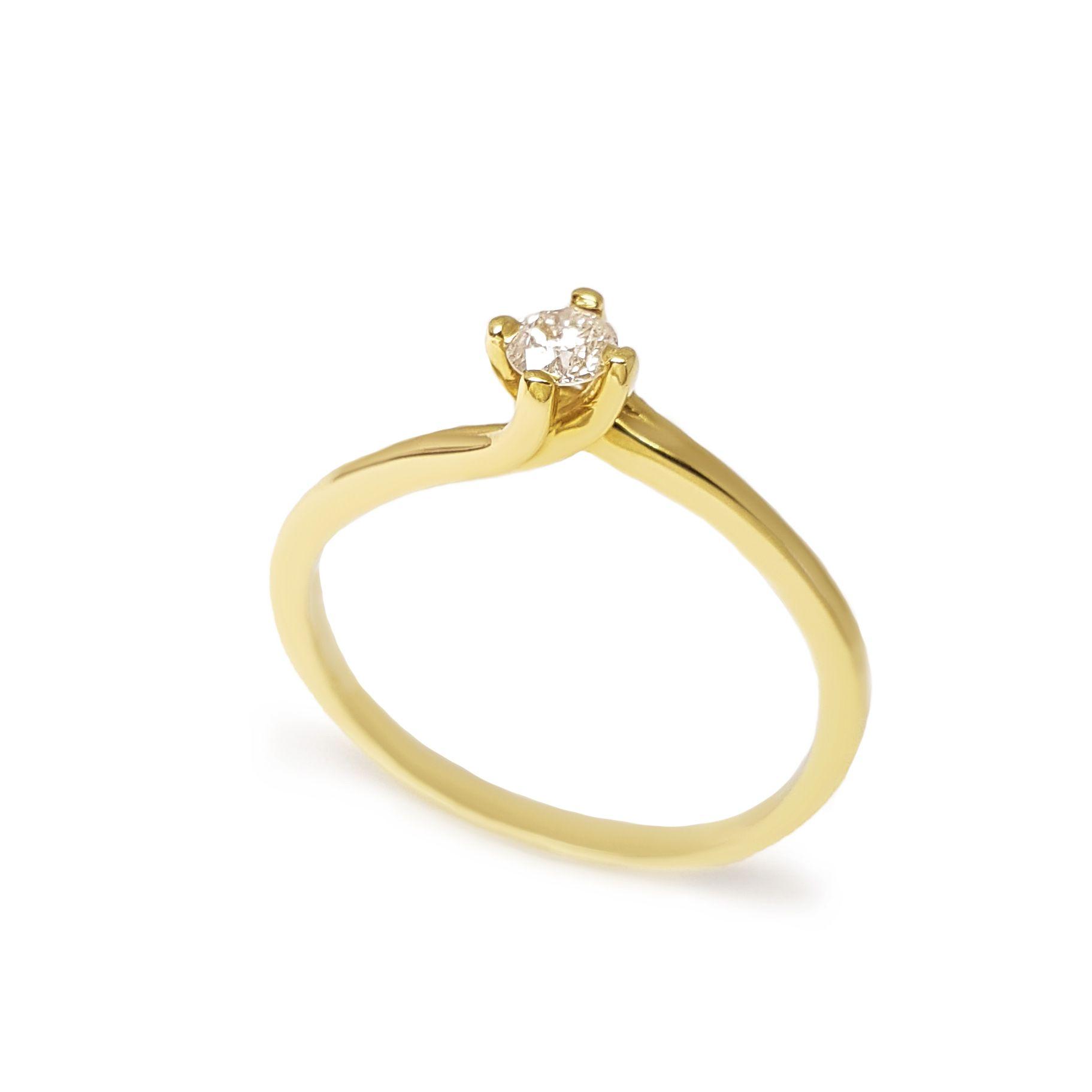 87bd1f86b98 Anel Solitário Ouro 18k com Diamante de 15 pontos - YVES