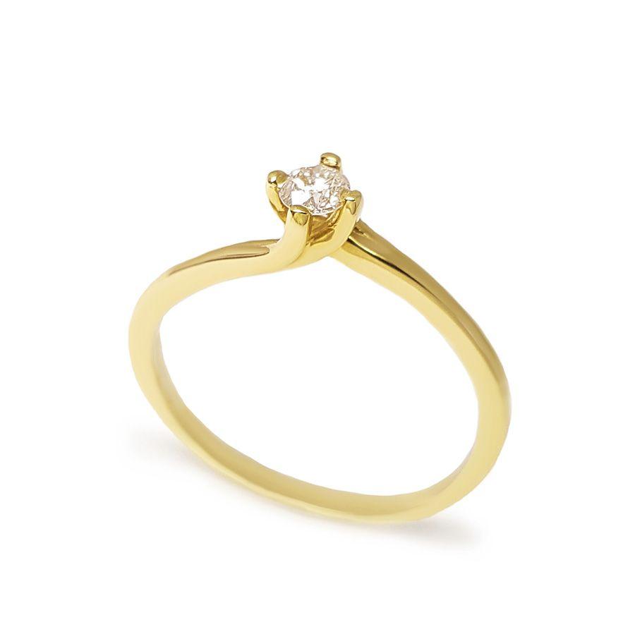 Anel Solitário Ouro 18k com Diamante de 15 pontos
