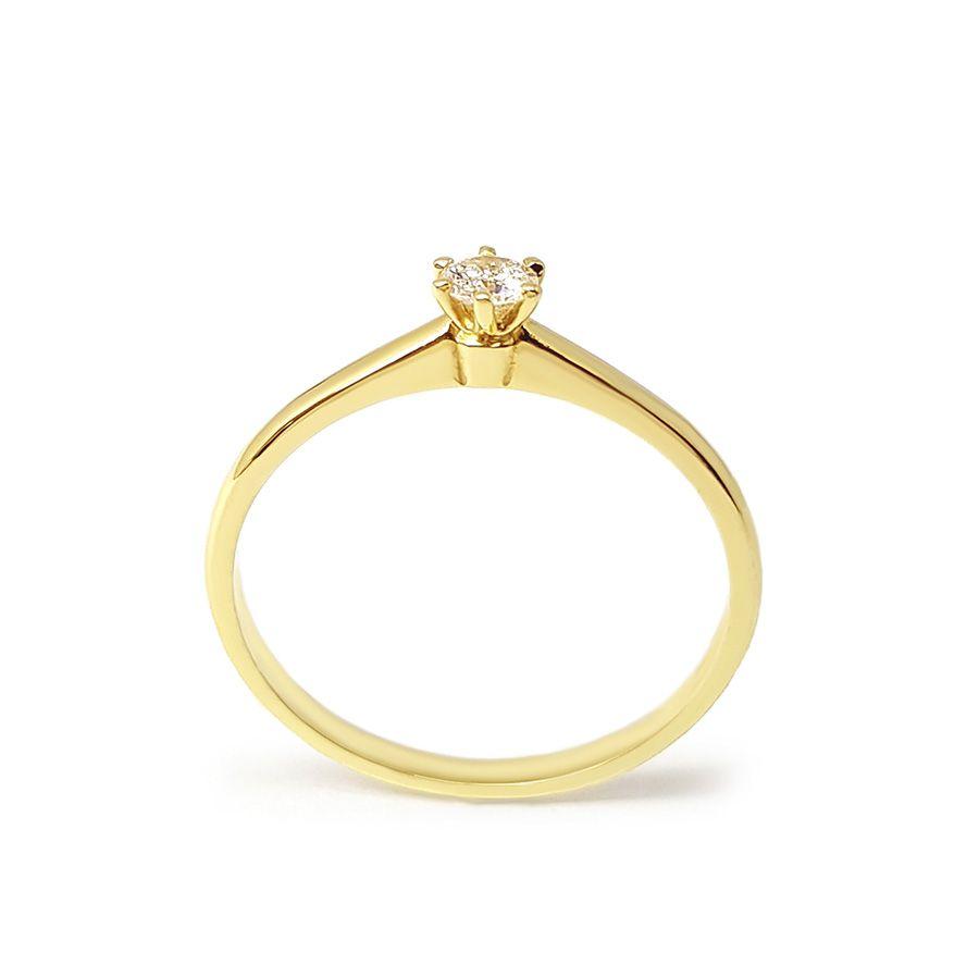 Anel Solitário Ouro 18k com Diamante de 16 pontos  - YVES