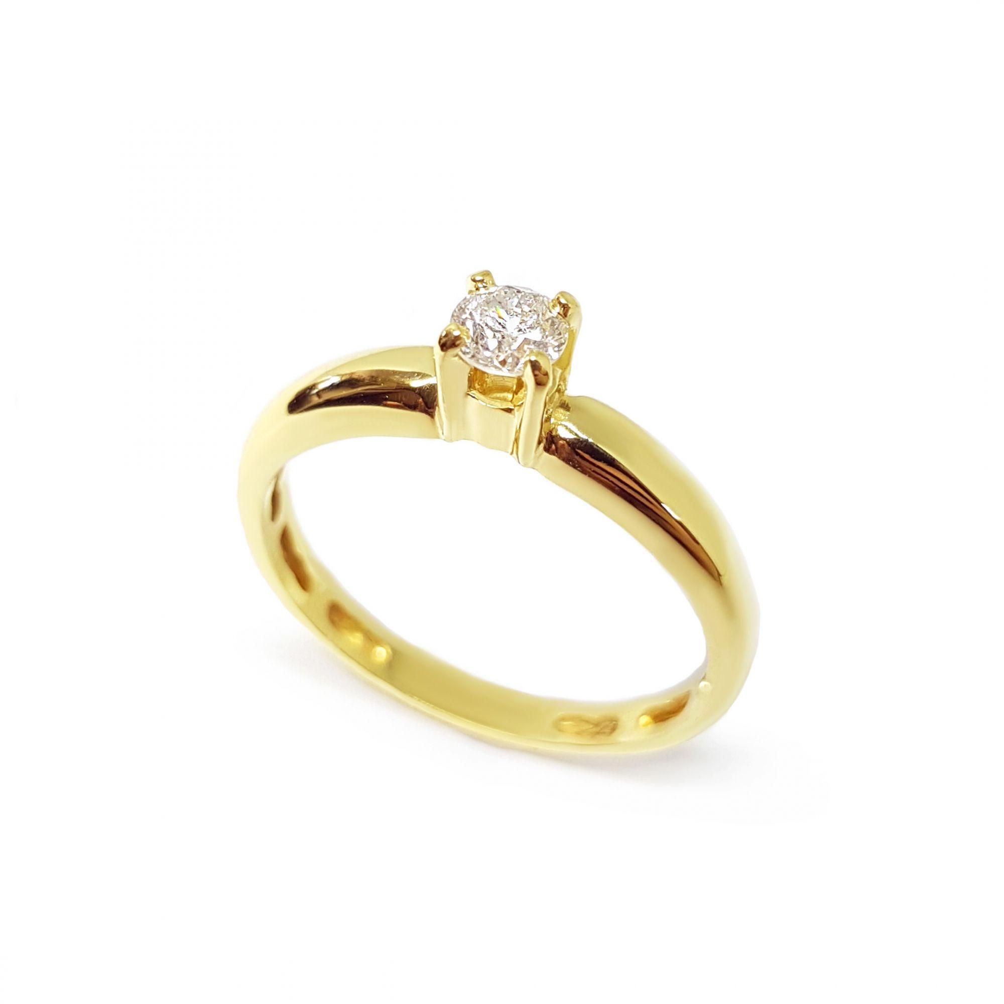 40111d1392e Anel Solitário Ouro 18k com Diamante de 28 pontos - YVES