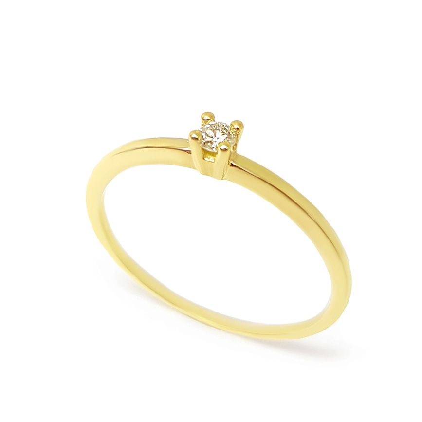 Anel Solitário Ouro 18k com Diamante de 6 pontos