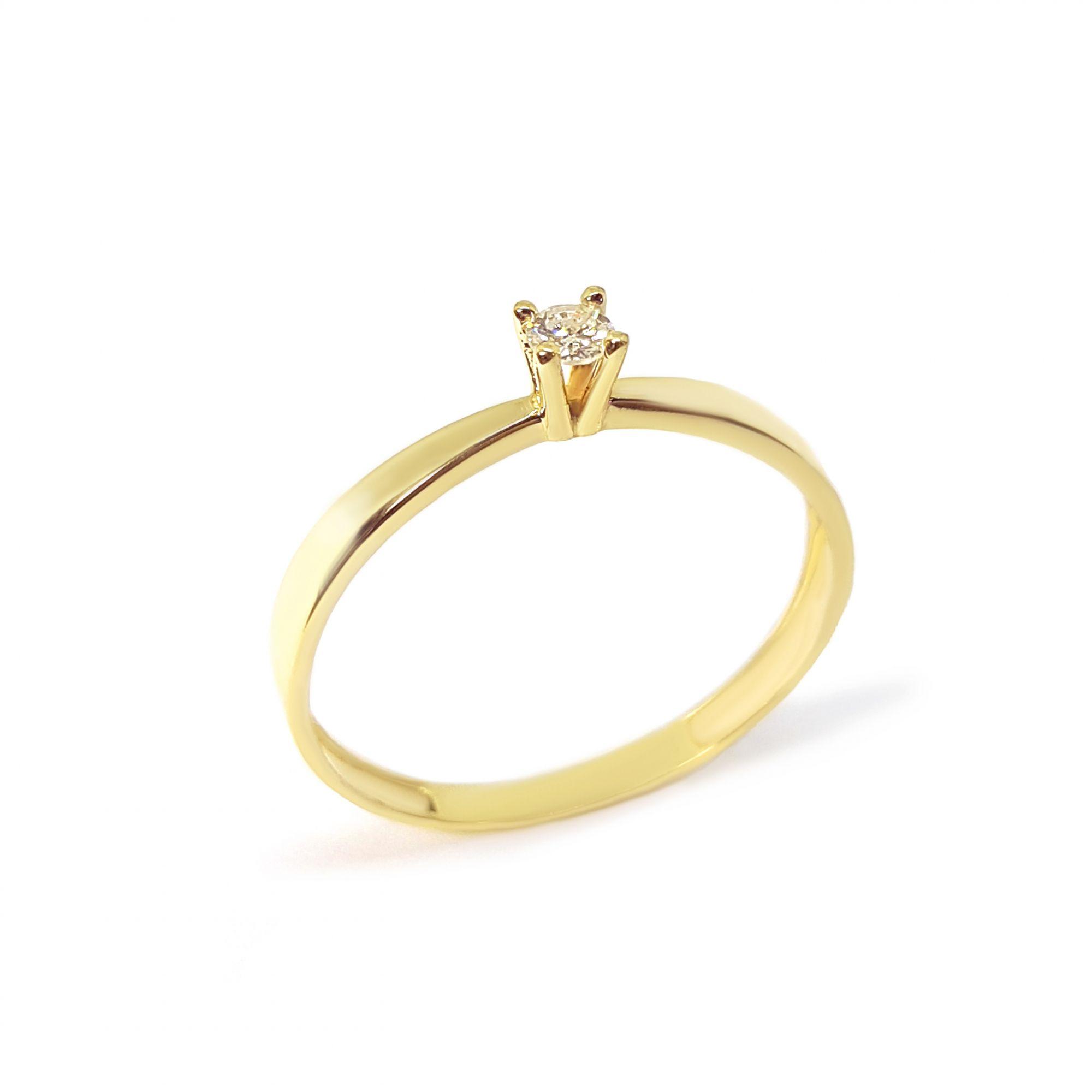 87ed3836e643f Anel Solitário Ouro 18k com Diamante de 7 pontos - YVES