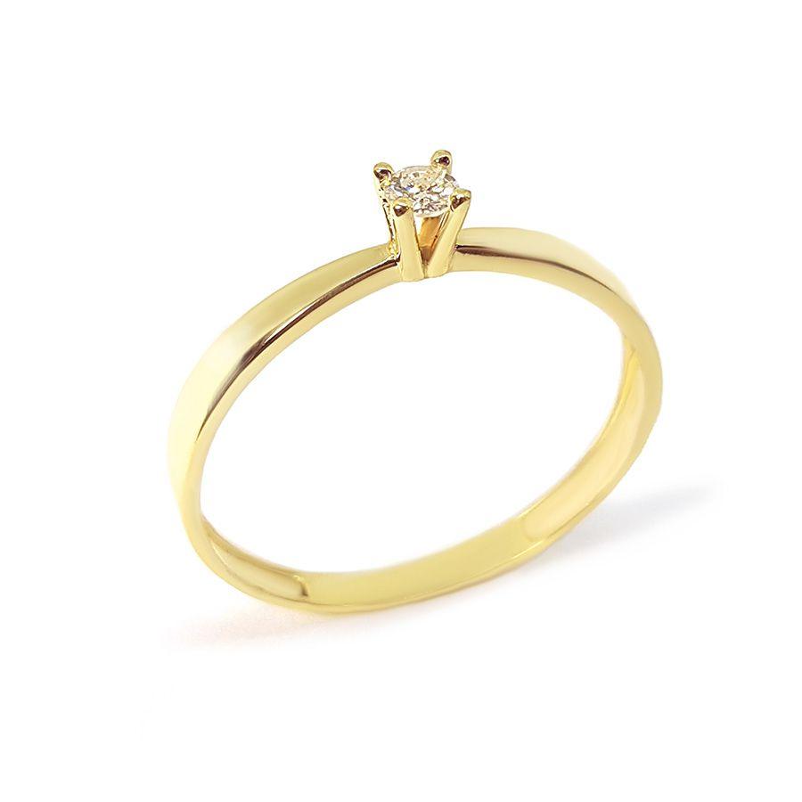 Anel Solitário Ouro 18k com Diamante de 8 pontos
