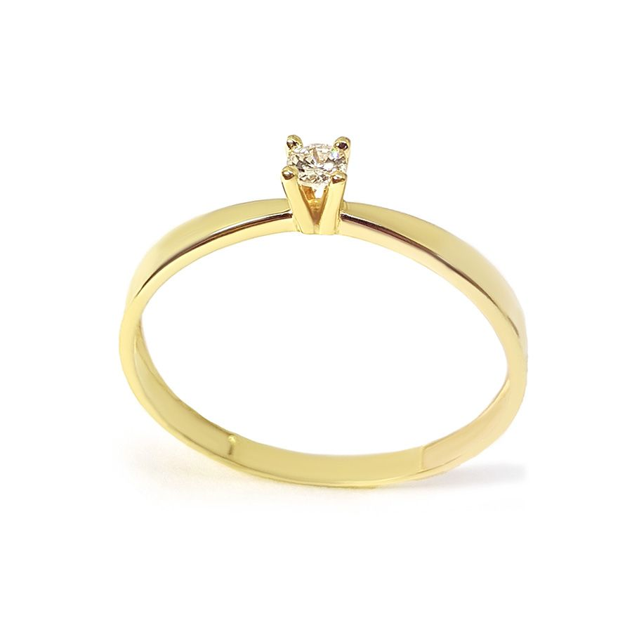 Anel Solitário Ouro 18k com Diamante de 8 pontos  - YVES