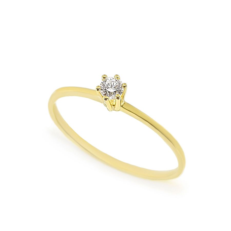 Anel Solitário Ouro 18k com Diamante de 10 pontos