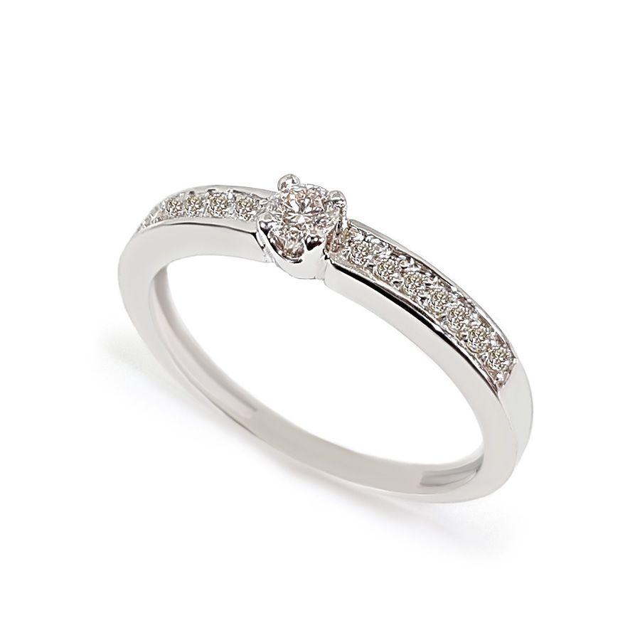 Anel Solitário Ouro 18k com Diamantes e Diamante Central de 11 pontos