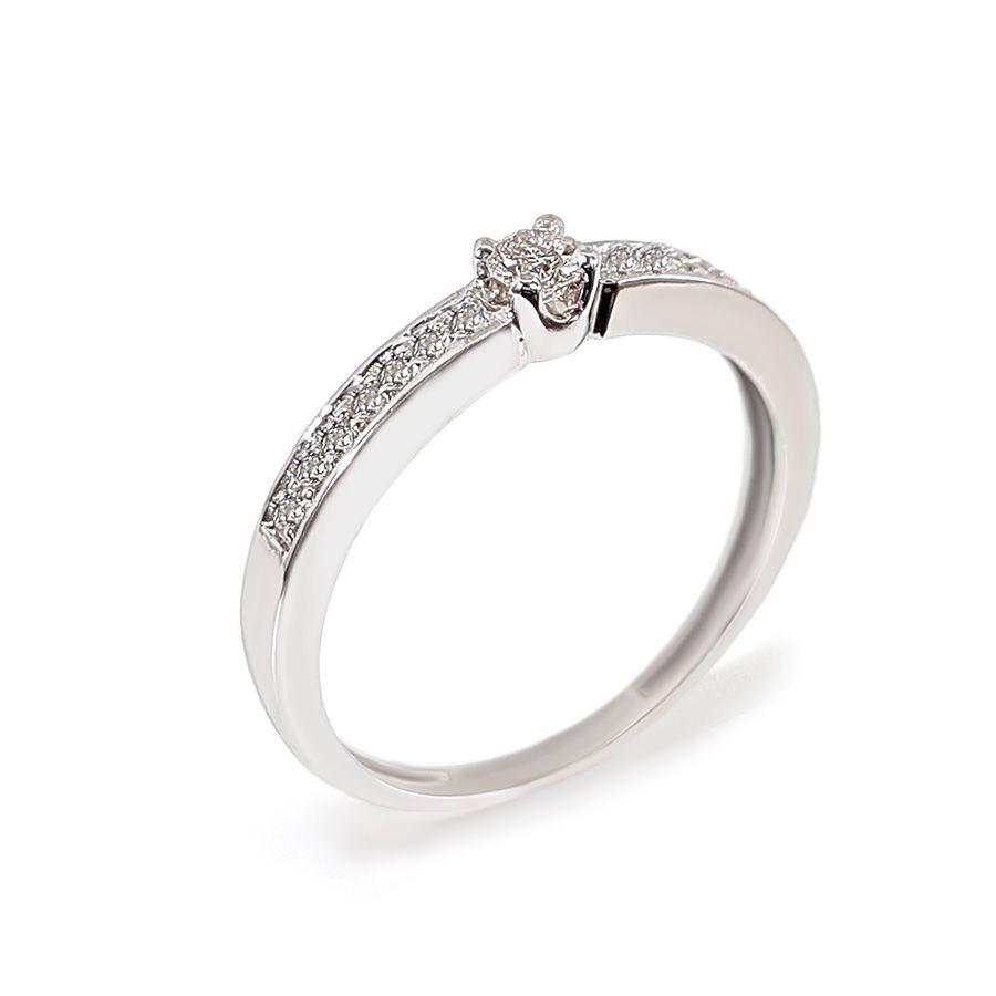 Anel Solitário Ouro 18k com Diamantes e Diamante Central de 11 pontos  - YVES
