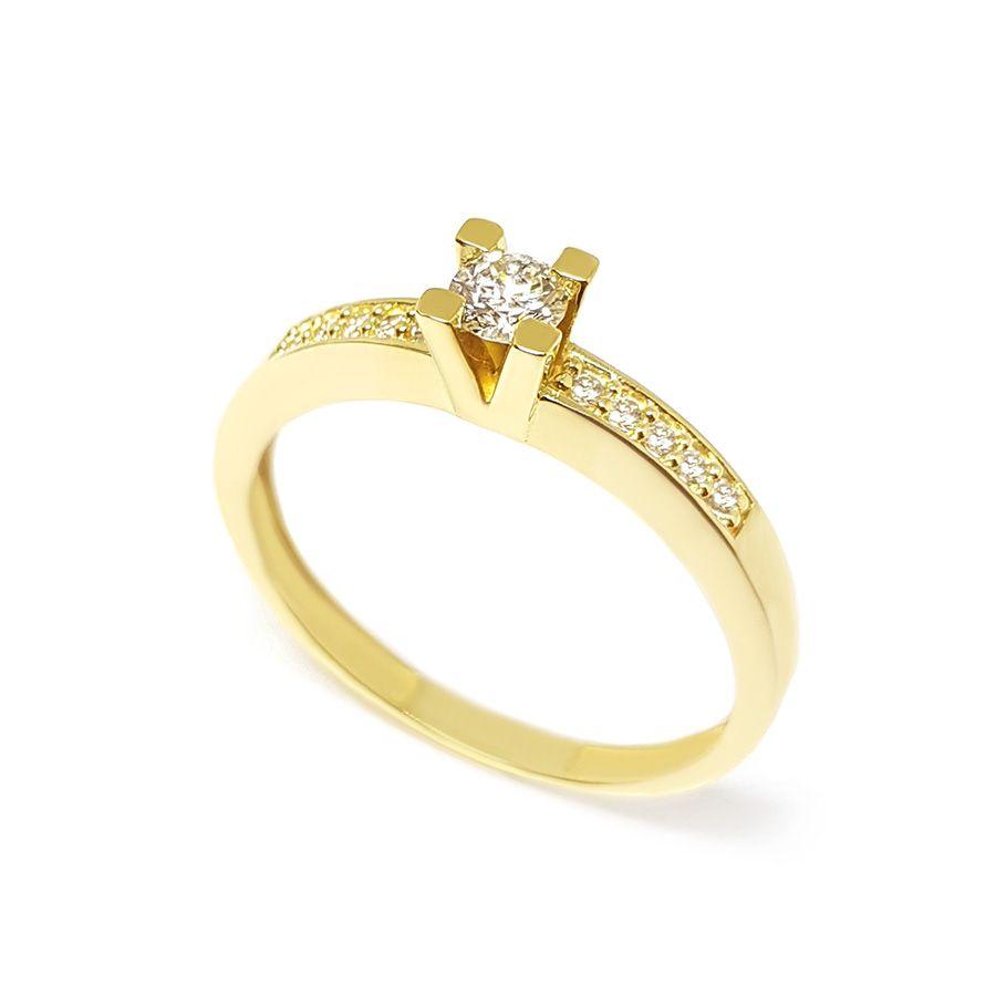 Anel Solitário Ouro 18k com Diamantes e Diamante Central de 16 pontos