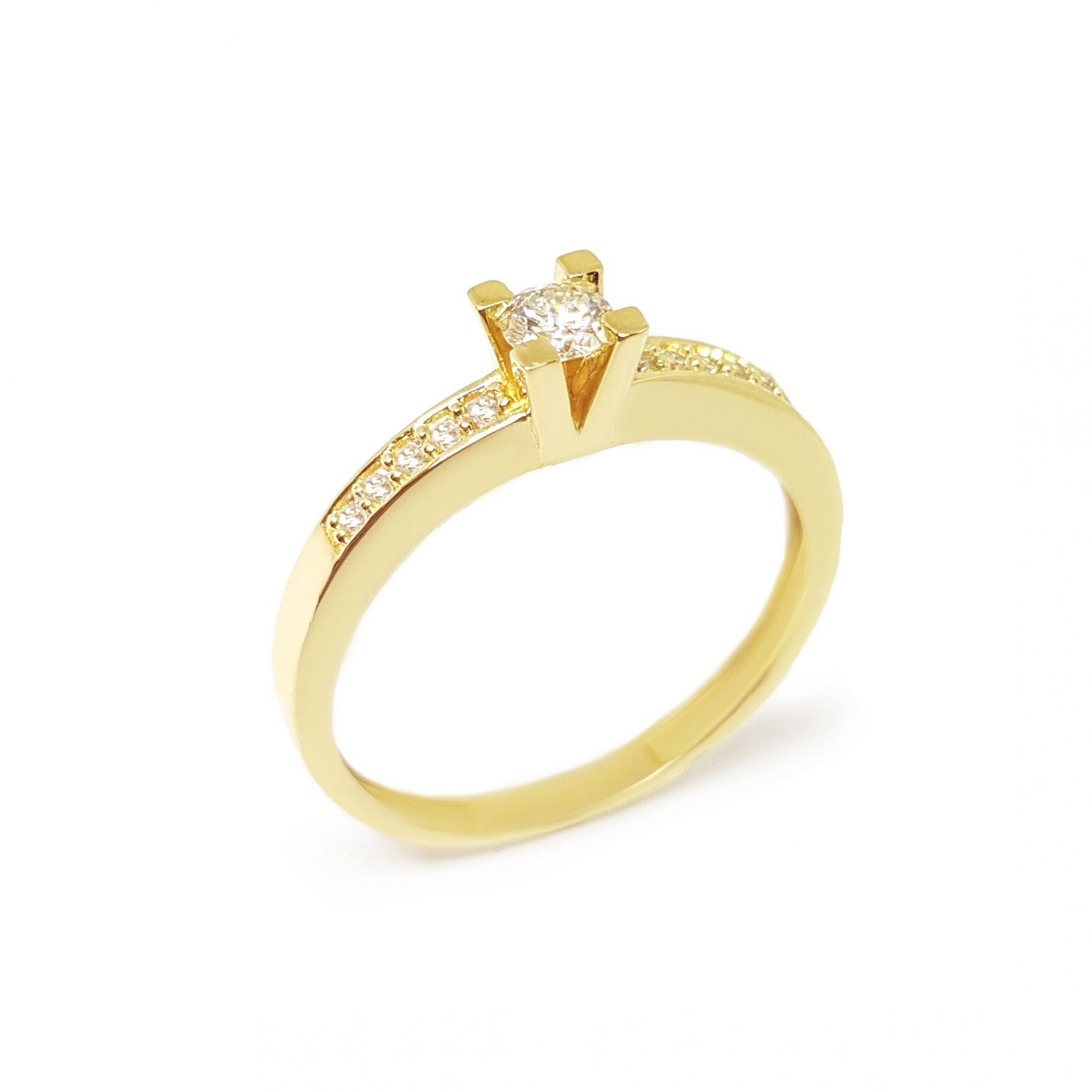 6af23c1b0e5a8 ... Anel Solitário Ouro 18k com Diamantes e Diamante Central de 16 pontos  ...