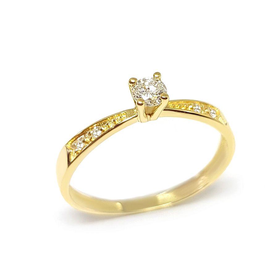 635d91767 Anel Solitário Ouro 18k com Diamantes e Diamante Central de 16 pontos