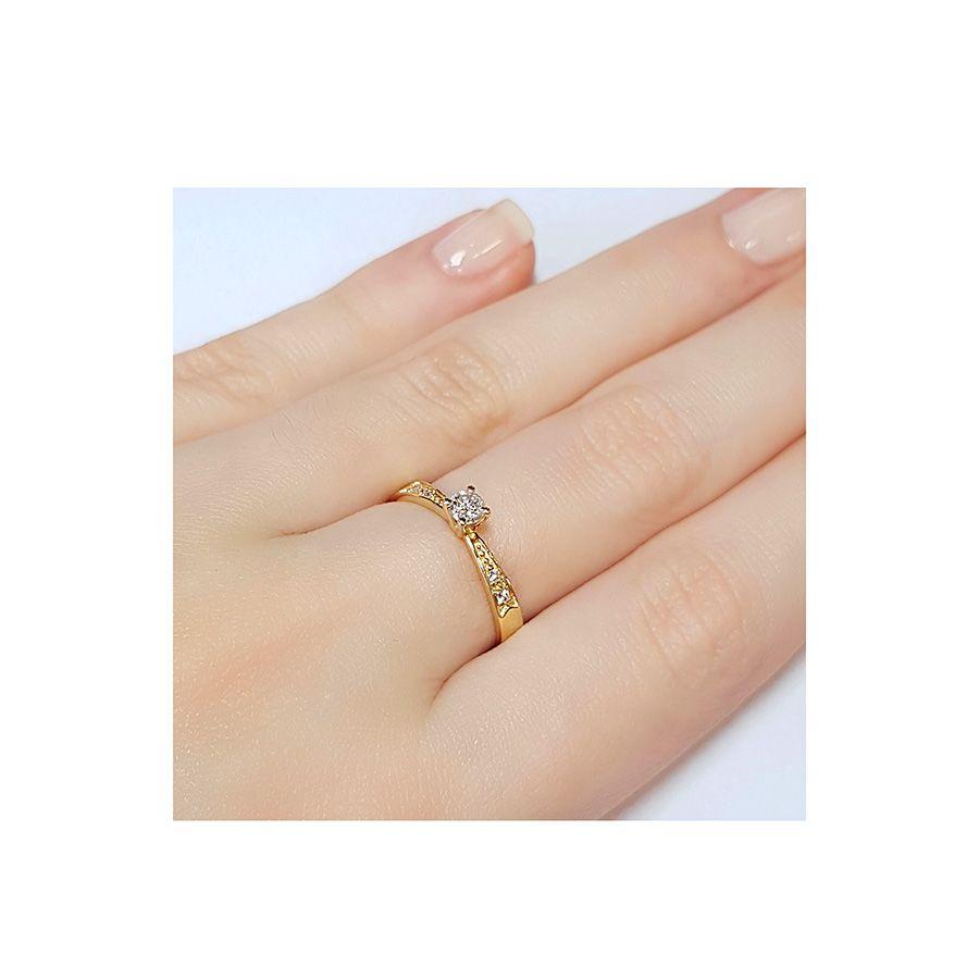 Anel Solitário Ouro 18k com Diamantes e Diamante Central de 16 pontos   - YVES