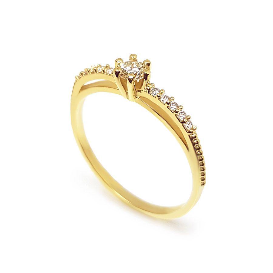 Anel Solitário Ouro 18k com Diamantes e Diamante Central de 17 pontos  - YVES