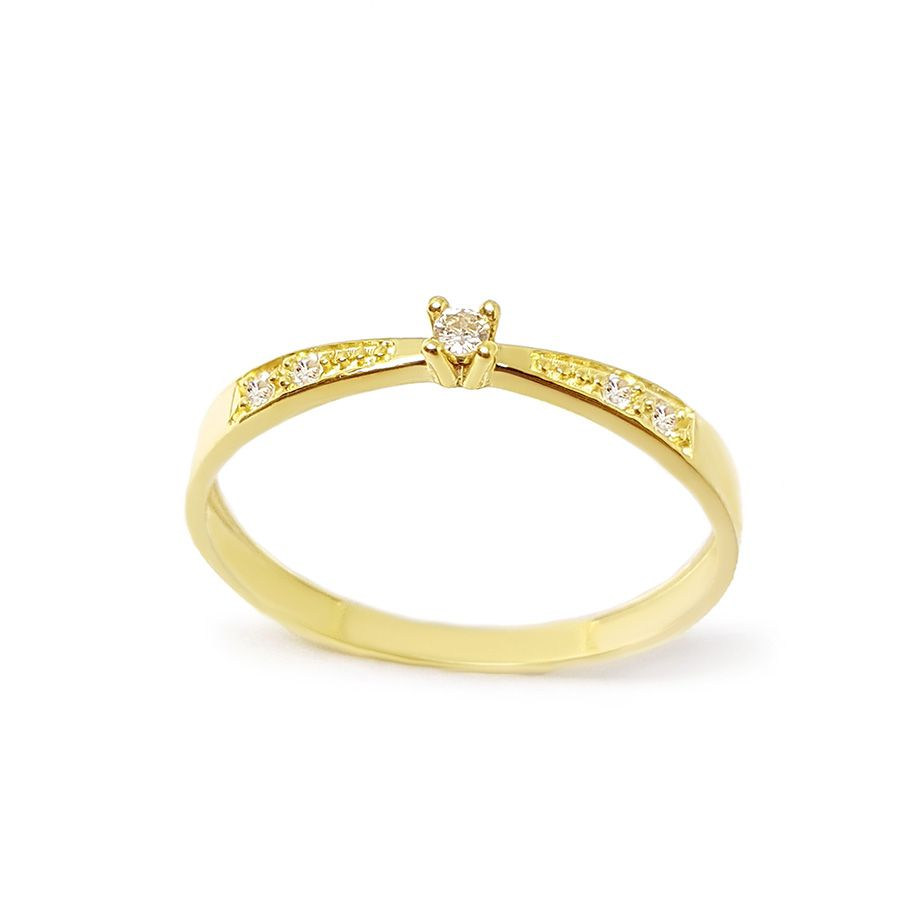 Anel Solitário Ouro 18k com Diamantes e Diamante Central de 2 pontos  - YVES