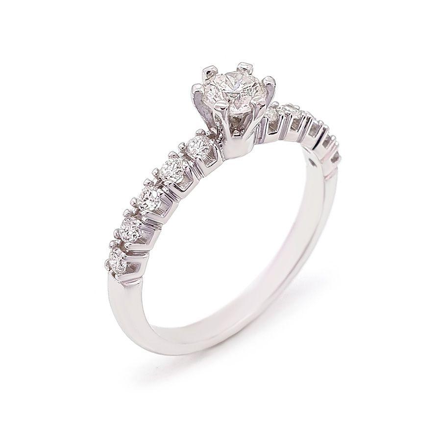 Anel Solitário Ouro 18k com Diamantes e Diamante Central de 30 pontos  - YVES