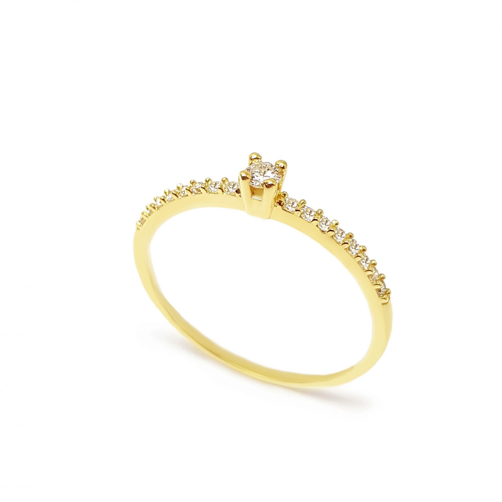 6903093a6e3 Anel Solitário Ouro 18k com Diamantes e Diamante Central de 6 pontos ...