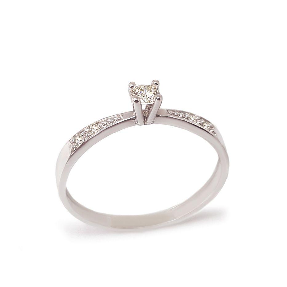 Anel Solitário Ouro 18k com Diamantes e Diamante Central de 8 pontos  - YVES