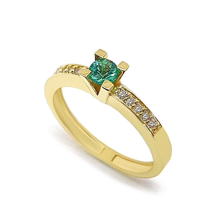 Anel Solitário Ouro 18k com Esmeralda de 30 pontos e Diamantes
