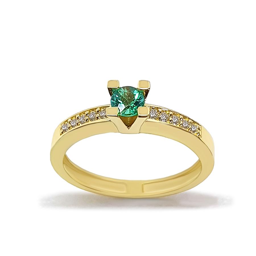 Anel Solitário Ouro 18k com Esmeralda de 30 pontos e Diamantes  - YVES