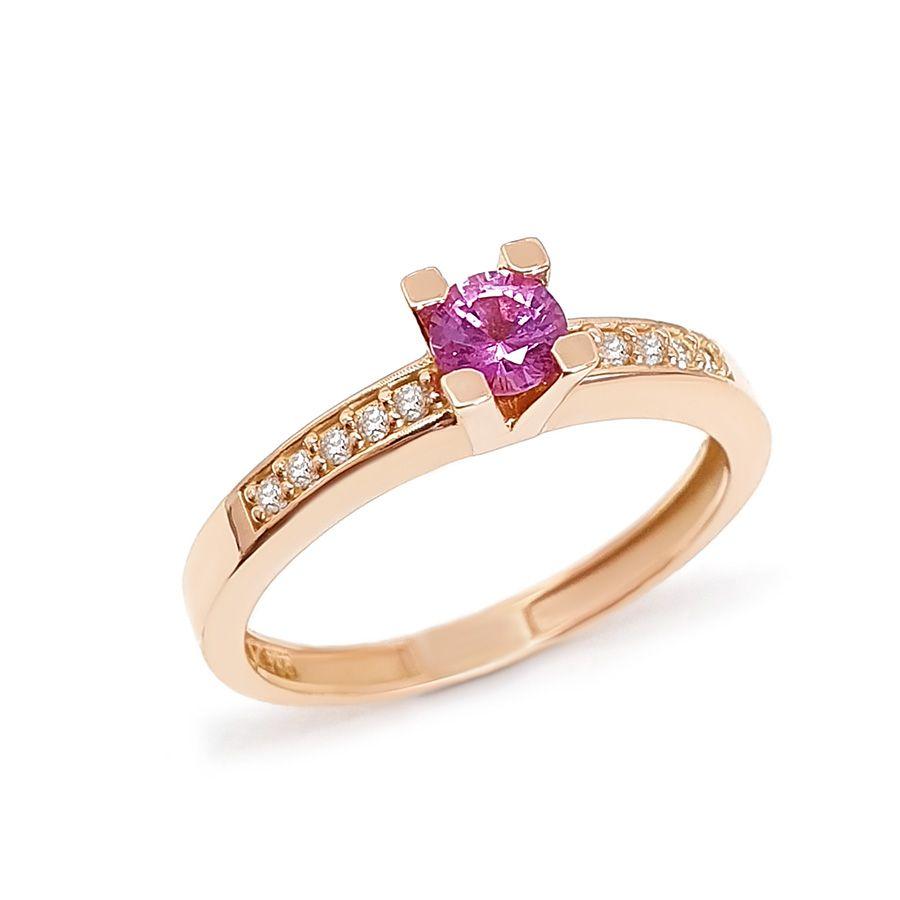 Anel Solitário Ouro 18k com Safira Rosa de 30 pontos e Diamantes