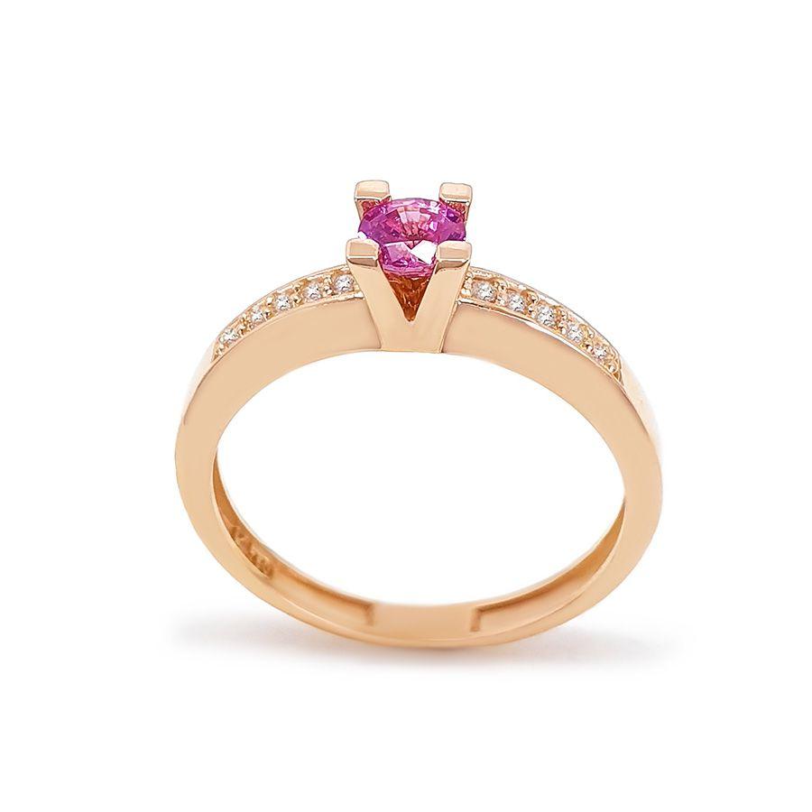 Anel Solitário Ouro 18k com Safira Rosa de 30 pontos e Diamantes   - YVES