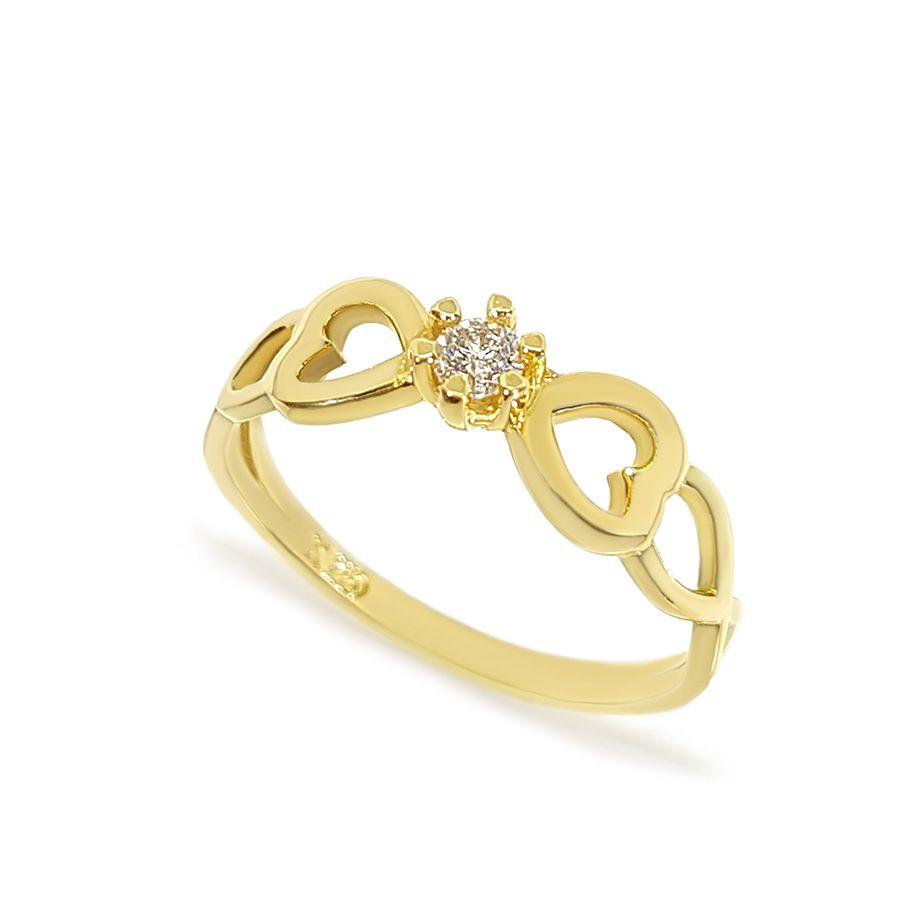 Anel Solitário Ouro 18k Coração Diamante   - YVES