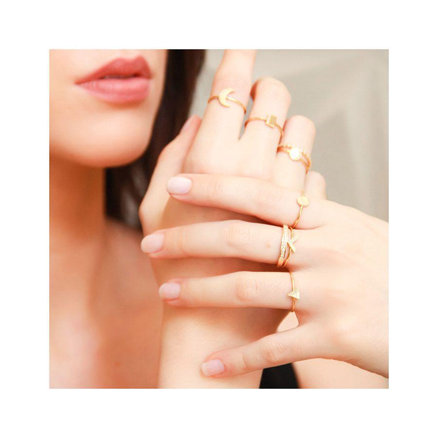 Anel Ouro 18k Triangulo com Diamantes   - YVES