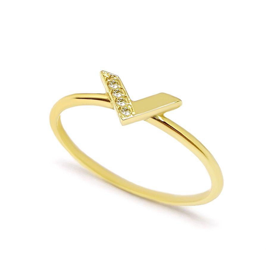 Anel V Ouro 18k com Diamantes