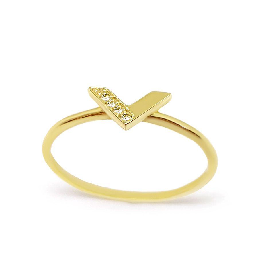 Anel V Ouro 18k com Diamantes   - YVES
