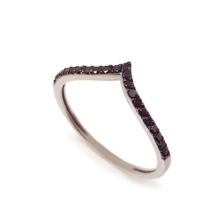 Anel V Ouro 18k com Diamantes Negro