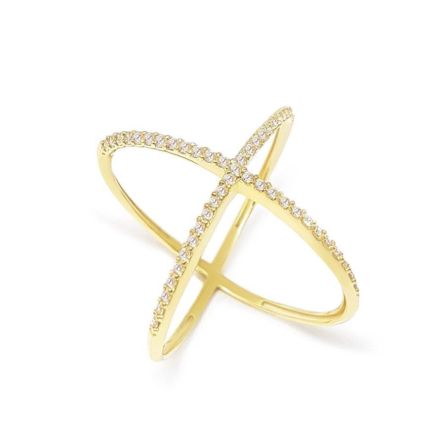 Anel X Ouro 18K com Diamantes