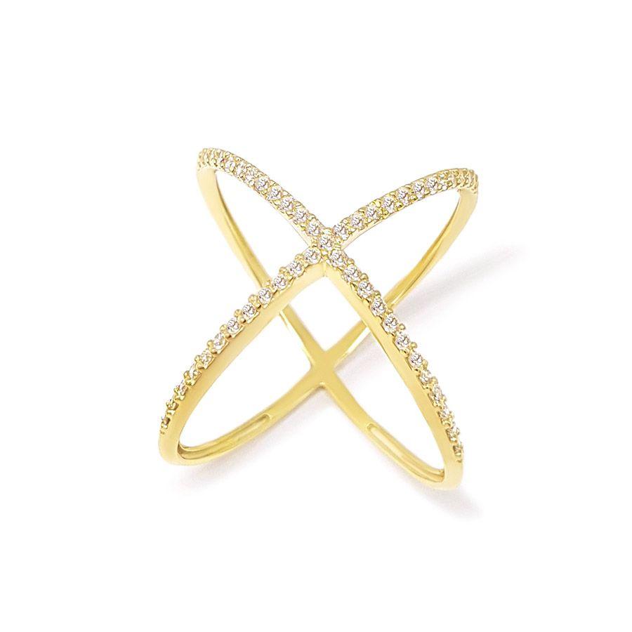 Anel X Ouro 18K com Diamantes   - YVES