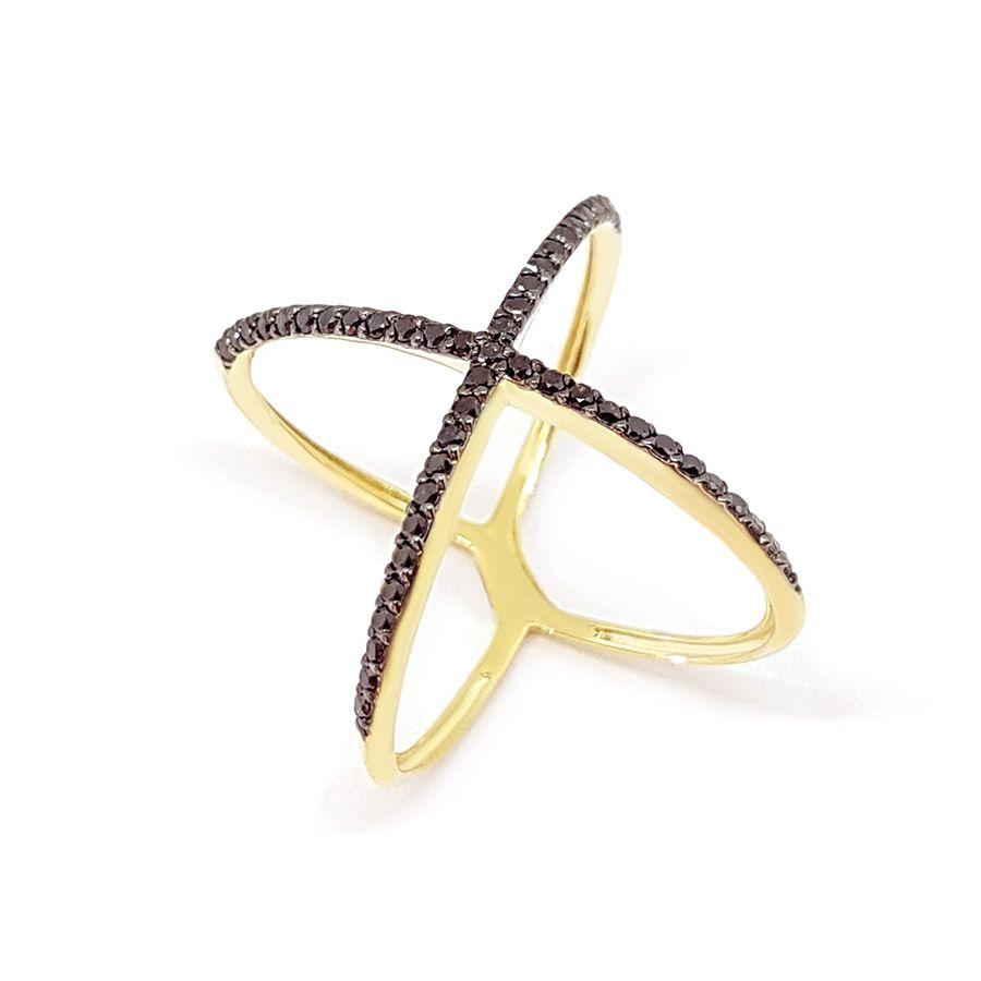 Anel X Ouro 18k com Diamantes Negro