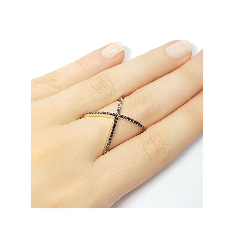 Anel X Ouro 18k com Diamantes Negro  - YVES