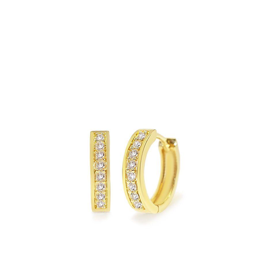 Brinco Argola Ouro 18k com 16 Diamantes