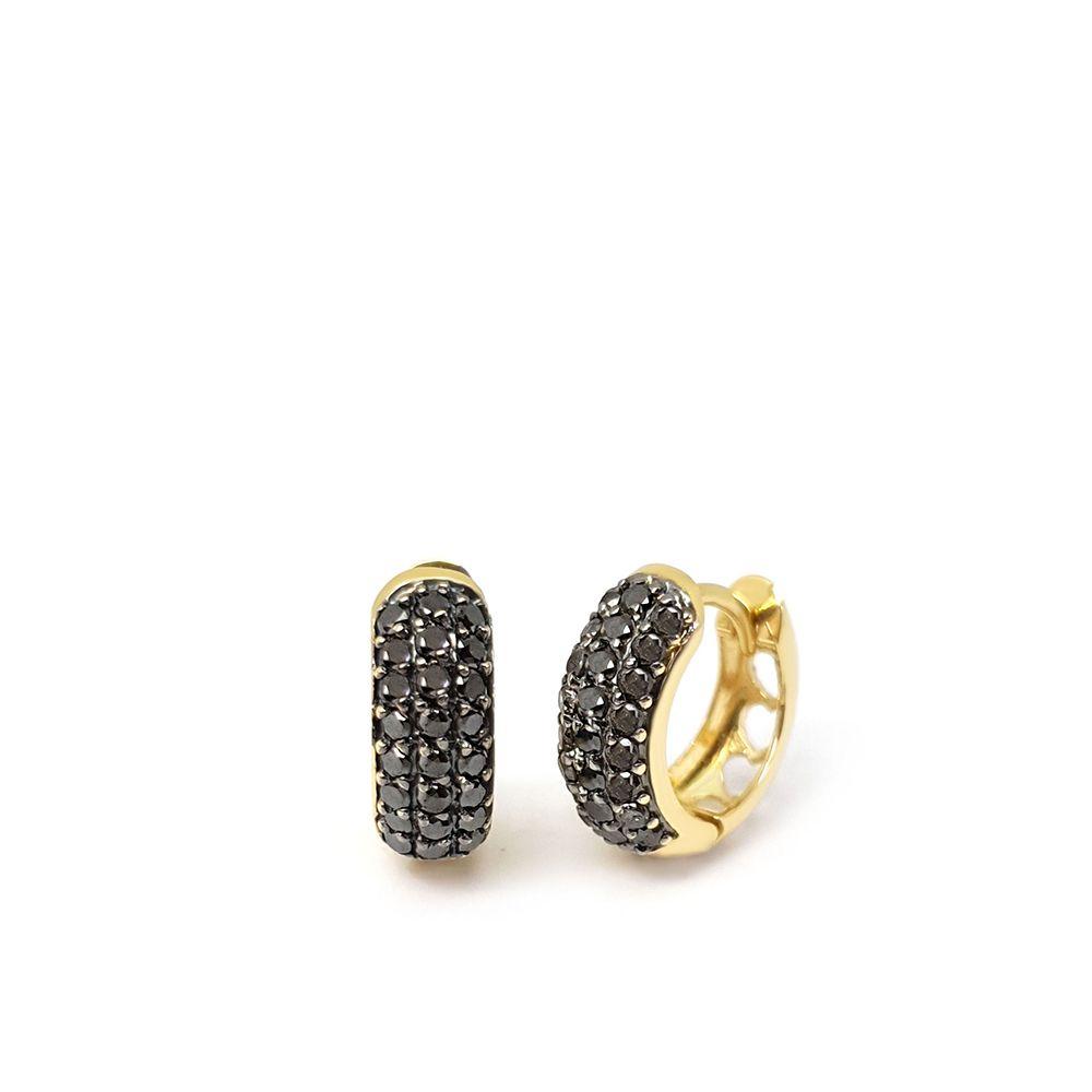 Brinco Argola Ouro 18k com 48 Diamantes Negro